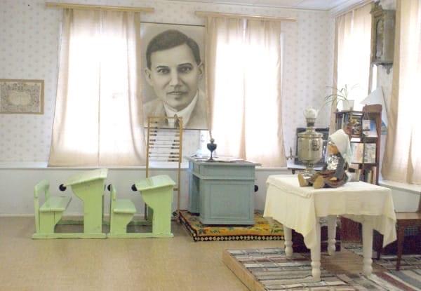 Музей Кузебая Герда, внутреннее помещение с большой фотографией на стене