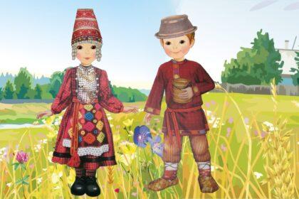 Нарисованные мальчик с девочкой удмурты