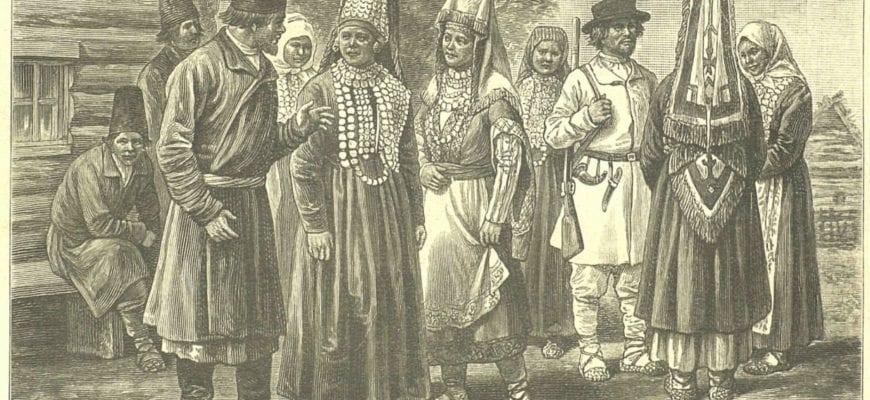Рисунок удмуртов в национальных костюмах
