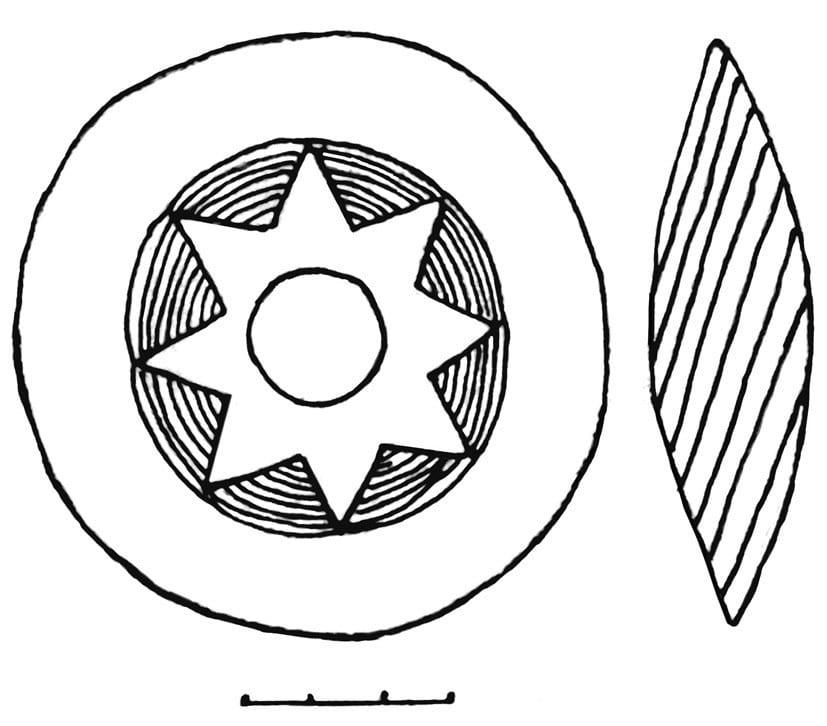 Рисунок костяного пряслица из Кушманского городища с восьмоконечным символом толэзё